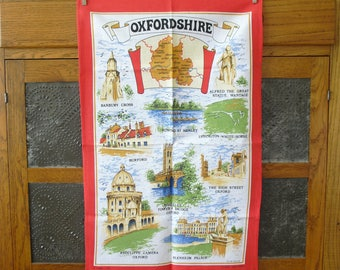 Vintage Oxfordshire Tea Towel, Travel Souvenir, Pillow Fabric, Frameable Art, Tablecloth, Reupholstering, Quilting Material, Made in Britain