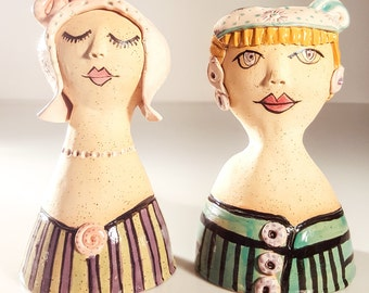 Ceramic Sculpture, Ceramic figurines of women, Pottery Handmade, Ceramics and Pottery, Clay Sculpture, Pottery Set, Housewarming Gift,4004