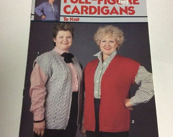 Full Figure Knitting Patterns - Cardigan Sweater Pattern - Vintage Knit Pattern - Large Knit Patterns - Sweater Patterns - Vest Pattern