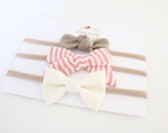 Winnie Bow Trio/ baby headbands/ nylon headbands/ cute baby bows/ summer baby bows/ baby bow sets
