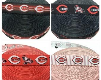 7/8 Cincinnati Reds Ribbon, reds grosgrain ribbon by the yard, baseball team ribbon, cincinnati ribbon