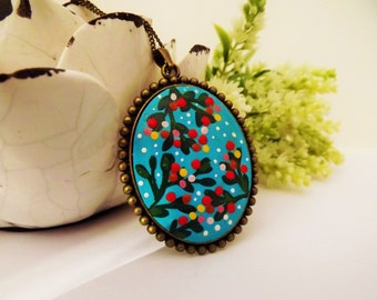 Summer Afternoon Flowers Necklace. Lovely Vintage Hand Painted Cameo Pendant Necklace Polymer Clay Jewelry Nickel Free Antique Bronze