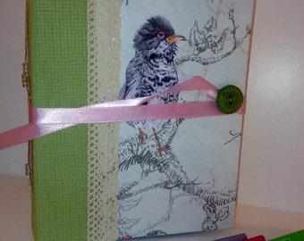 Handmade handbound upcycled bird book journal, handmade memories book, handmade scrapbook,handmade notebook