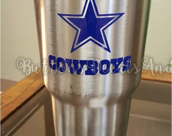 Dallas Cowboy Football Decal - NEW SIZES!!!  Use on a Yeti, RTIC, or Ozark cup, Car window, Walls, Home Windows, etc.