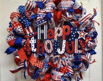 USA Mesh Wreath, Americana Mesh Wreath, Fourth of July Wreath, Memorial Day Wreath, Patriotic Deco Mesh Wreath