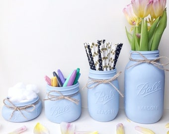 Makeup storage, brush holder, blue Mason Jar, nautical decor, desk storage, office decor, teen girl room decor, vase, wedding centrepiece