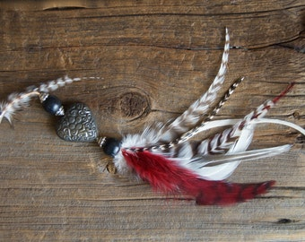 Heart & Feather Clip » Feather Hair Clip » Boho Jewelry » Hippie Jewelry