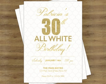 White Party Invitation; White and Gold Invitations; Adult Birthday Invitations; Adult Party Invitations; Gold Birthday Invitation