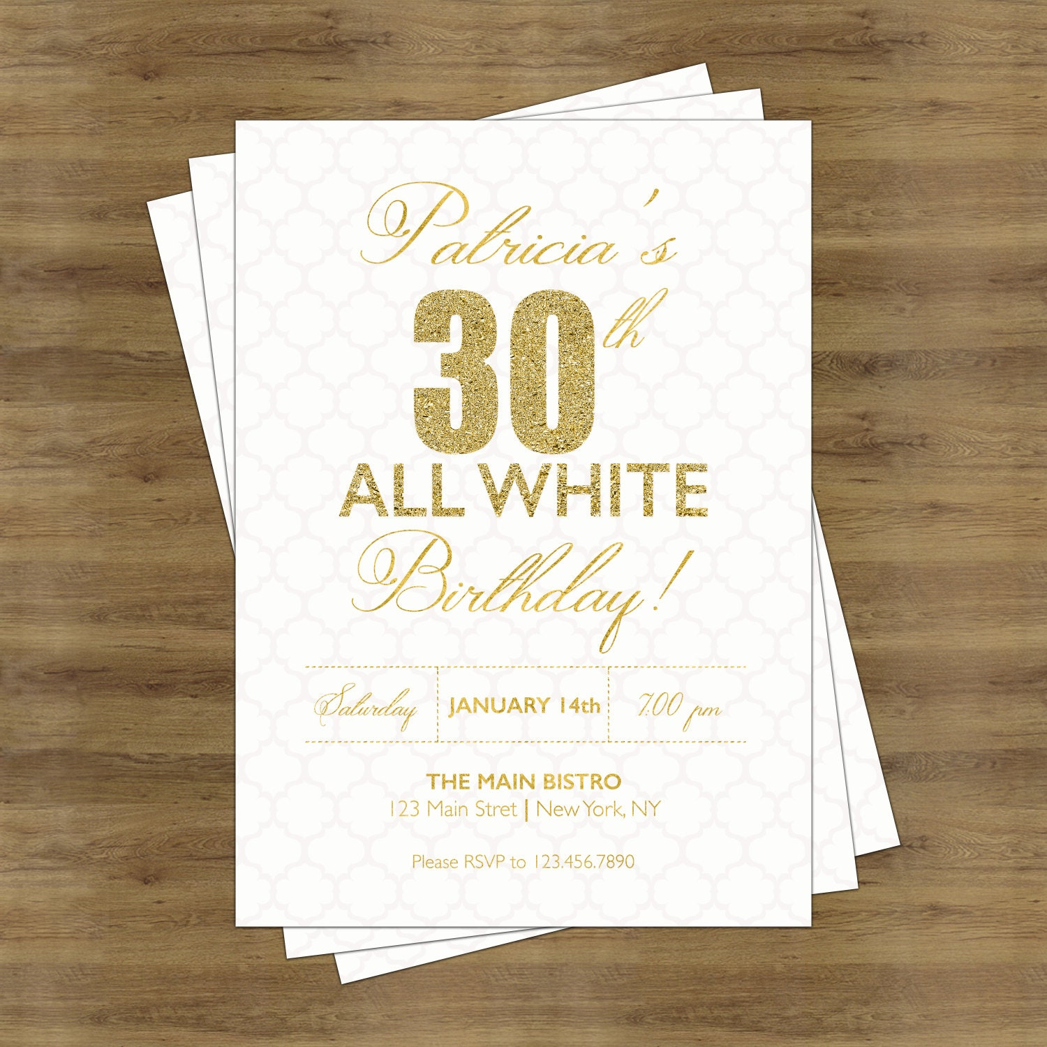 White Party Invitation White and Gold Invitations Adult