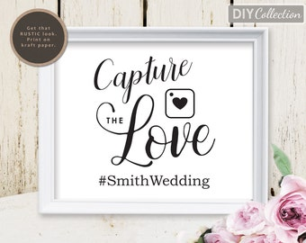 Capture the Love Wedding Sign, Hashtag wedding sign, Social media wedding sign, Instant Download, Template, GD_WS108