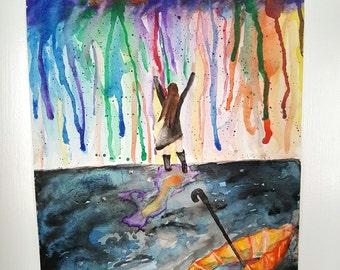 """Original watercolor painting,  Girl in rain painting, """"Rejoice""""  9"""" x 12"""""""