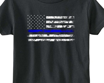 Thin Blue Line- Toddler's 5.5 oz. Jersey Short-Sleeve T-Shirt by Rabbit Skins