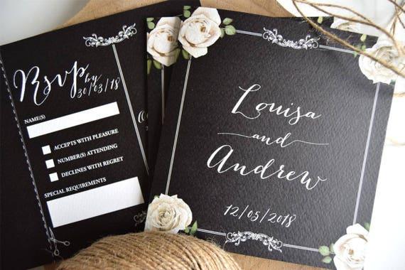 Vintage Floral Framed Chalkboard Wedding Invitation Sample