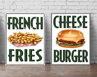 Fast food print set A5-A0, large wall decal restaurant wall art, french fries and cheese burger poster set for kitchen or restaurant 005