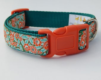 Orange Camellia Dog Collar, Orange Dog Collar, Adjustable Dog Collar, Flower Dog Collar, Girl Dog Collar