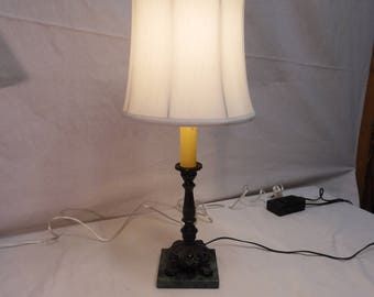 1960's Table Lamp - Redo - Green Marble Base - Satin Drum Lampshade
