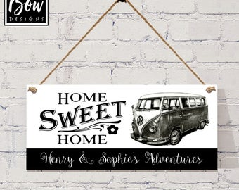 CAMPERVAN SIGN home from home, personalised, mono, black and white,