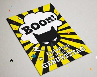 Invitation Batman, birthday, superhero, action, party, graphic design, modern invitation to the birthday graphic