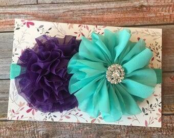 Purple and Aqua Headband/Baby Headband/Newborn Headband/Purple Headband/Aqua Headband/Toddler Headband/Birthday/1st Birthday/Cake Smash