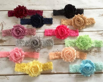 PICK 3 Shabby Lace Headbands, Baby Headband, Baby Girl Headband, Infant Headband, Newborn Headband, Lace Headband, Girl Headband, Headband