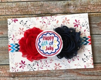 4th of July Headband, Patriotic Headband, Baby Headband, Newborn Headband, Fourth of July, Infant Headband, Baby Girl Headband, July 4th