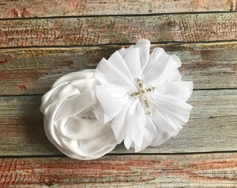 White Flower First Communion Hair Clip/Baptism Hair Clip/Christening Hair Clip/Bridal Hair Clip/Hair Piece/Hair Bow/1st Communion Hair Clip