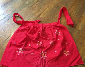 Vintage Bright Read Winter/Christmas Apron With Hand Embroidered Snowflakes