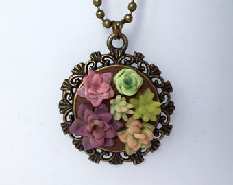 Bronze succulent pendant & necklace - garden jewelry - green thumb gift