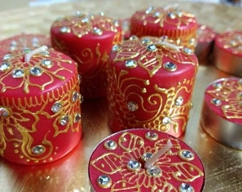 Henna votive candles and tealights. 20 piece set