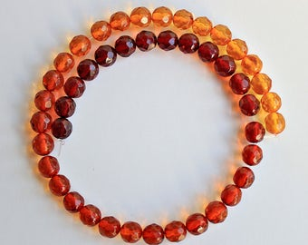 Natural Multi-Color Baltic Amber Faceted Round 6.25mm Loose Beads, Natural Gemstone Beads, Semi precious Gemstone Bead, Wholesale Bead