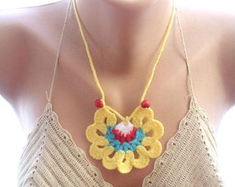 crochet lariat scarf, crochet scarf, , crochet flower scarf, crochet necklace, gift for her