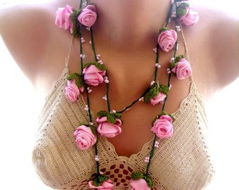 crochet necklace,pink flower crochet  necklace, crochet lace jewelry,  flower necklace ,  beaded necklace, gift for her