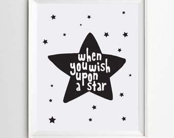 Printable wall art - When you wish upon a star - Nursery print - kids decor - star printable - wall decor - kids room decor - baby wall art
