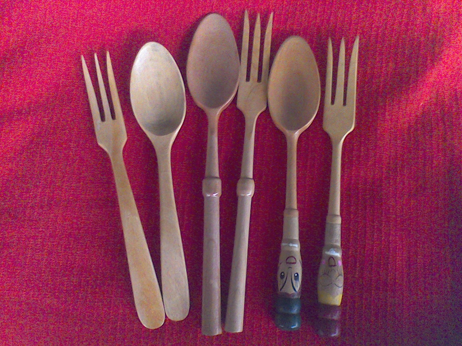 wooden forks and spoons vintage kitchy salad fork and. Black Bedroom Furniture Sets. Home Design Ideas