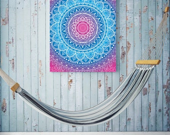 Blue Pink Mandala Tapestry - Digital Wall Art Print, Tribal, Gradient, Bright, Decor, Bold