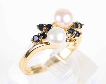 Vintage 18K Gold Plated Pearl and Sapphire Ring