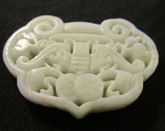 Carved Chinese White Jade Pendant of Longevity Lock with Lucky Money Bat, 2""