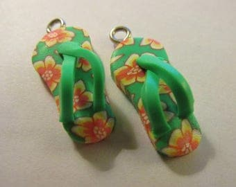 "Polymer Clay Flip Flop-Slipper Charms, 1"", Set of 2"