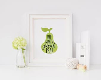 Funny art | pear print | funny kitchen decor | instant download pear decor | digital download | funny kitchen sign | fruit decor | puns