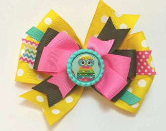 Owl hair bow...owl hair clip...pinwheel owl hair bow...Owls