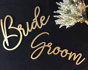 Bride Groom Signs // Wood Wedding Decor // Wedding Signs // Wedding Decor // Wedding Signage // Bride Sign //Groom Sign//Wedding Chair Signs
