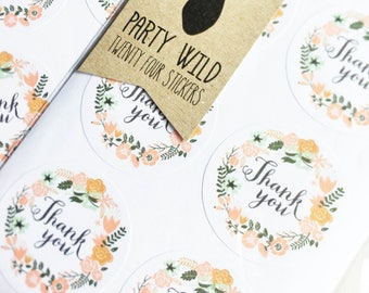 Thank You Stickers Pk24 - Rustic Floral