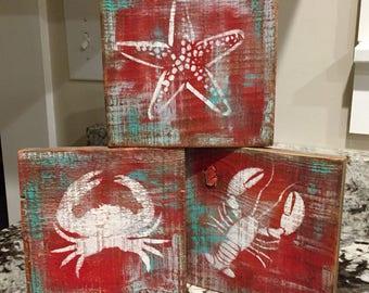 Rustic, Distressed, Barnwood, Ocean, Sealife Blocks, Sign
