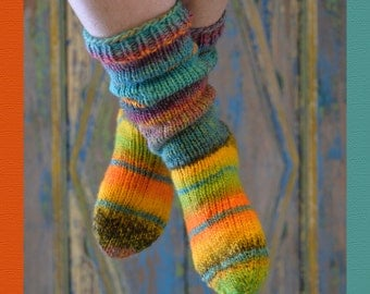colorful wool socks, hand knitted 37 / 38