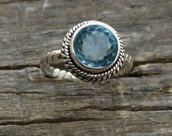 Natural Blue Topaz Quartz Gemstone Ring, Solid 925 Sterling Silver Ring,  Round Cut Topaz December Birthstone Ring, Bezel Designer Ring