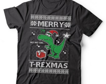 Funny T-Shirt Funny Ugly Christmas Sweater  Funny T-rex X-mas T-Shirt Merry T-Rexmas