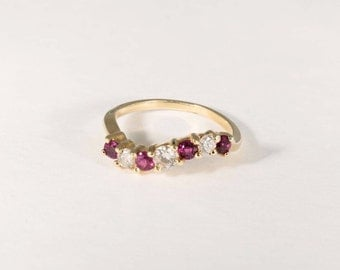 14K Yellow Gold Ruby and Diamond Ring, 2.5 grams, size 5.75