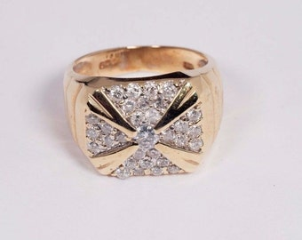 14K Yellow Gold Mens Fancy Cluster Diamond Ring, Size 9.5