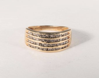 14K Yellow Gold Diamond Ring with 4 Rows of Stones size 7.5