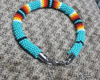 "Handmade Native American Beaded Rope Bracelet. 7 1/2"" expandable to 9 1/2"" on extension."